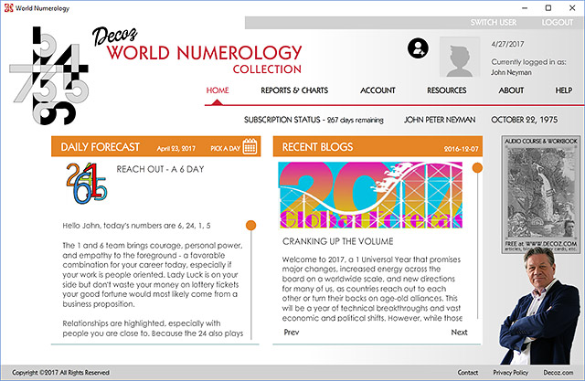 Use our World Numerology software to start a business, or because you want to use it as a basis for your numerology readings