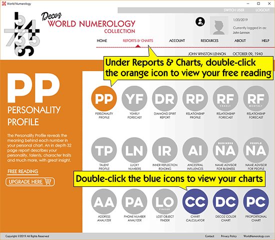 Go to the World Numerology software app's Reports & Charts page to view your free reading.