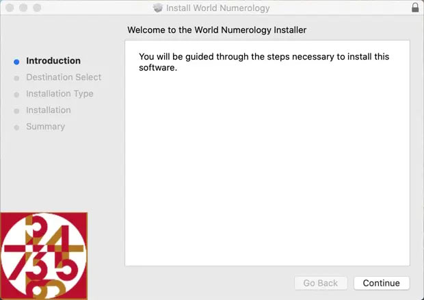 The Install World Numerology box should now open and you can install normally