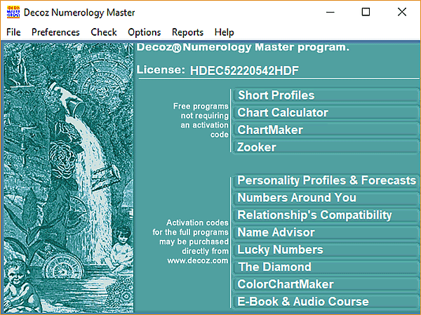 Decoz Numerology Software master program for professional numerologists, reviewed by Friedman for Mountain Astrologer