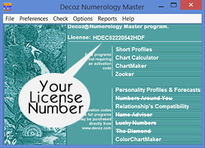 Where to find the license number in your professional numerology software