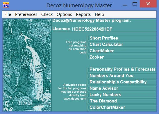 The Decoz Numerology software for professionals includes personal profiles, future forecasts, and relationship reports.