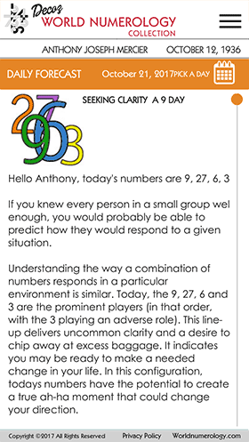 The Daily Number forecast in the World Numerology Collection