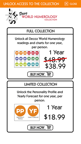 The World Numerology app offers two purchase options