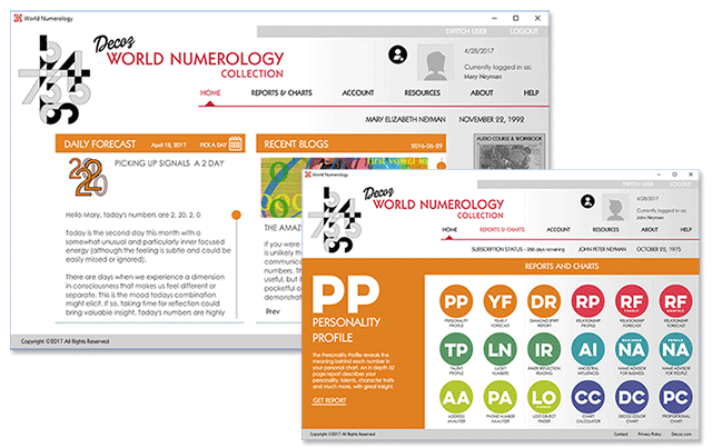 The home and readings pages of the new numerology software offered under the name World Numerology app
