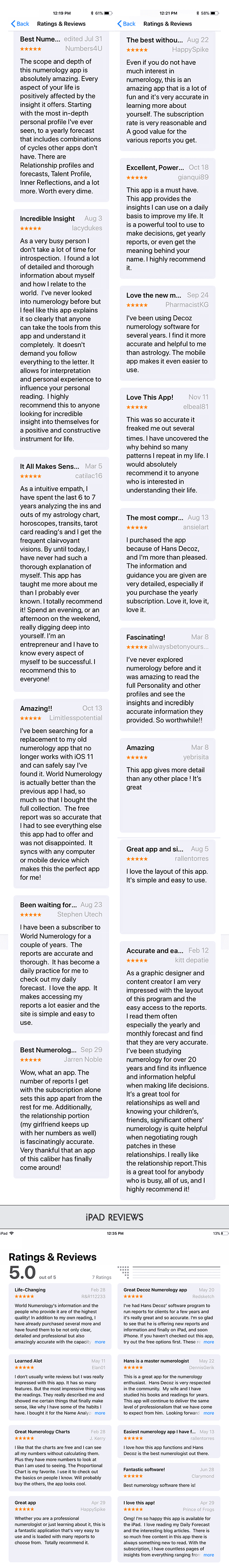 Reviews for the World Numerology App for iPhone and iPad, on iTunes - 5 star and 4.8 star ratings. Best numerology app available