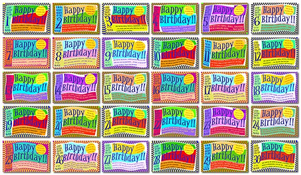Numerology Birth Day Cards, all 31 of them, and their numbers are described in detail