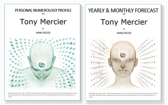 Personal Numerology Profile and Yearly Forecast combined; a 50+ page numerology reading by Hans Decoz