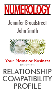 Our Relationship Profile compares all five core numbers with that of your partner, friend, family member, or co-worker.