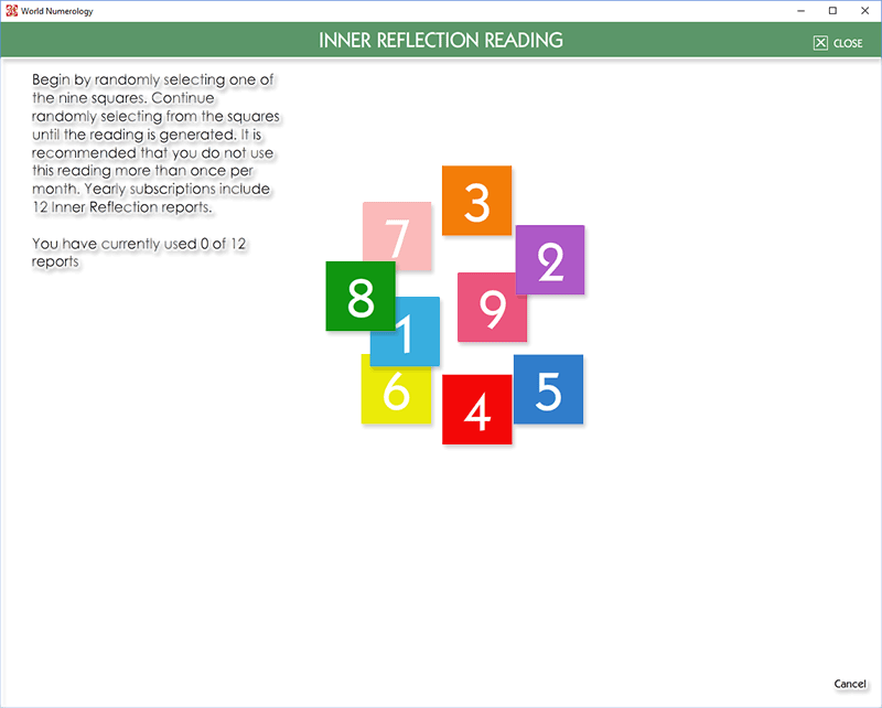 the numbers in the Inner Reflection Reading change after each selection