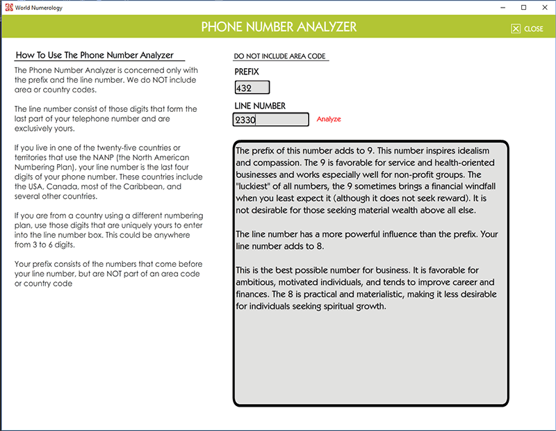 The phone number analyzer looks at telephone numbers, numerology software by Decoz