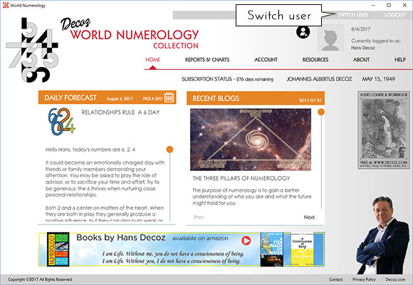 The home page of the numerology app offers a Switch User option in the top right corner
