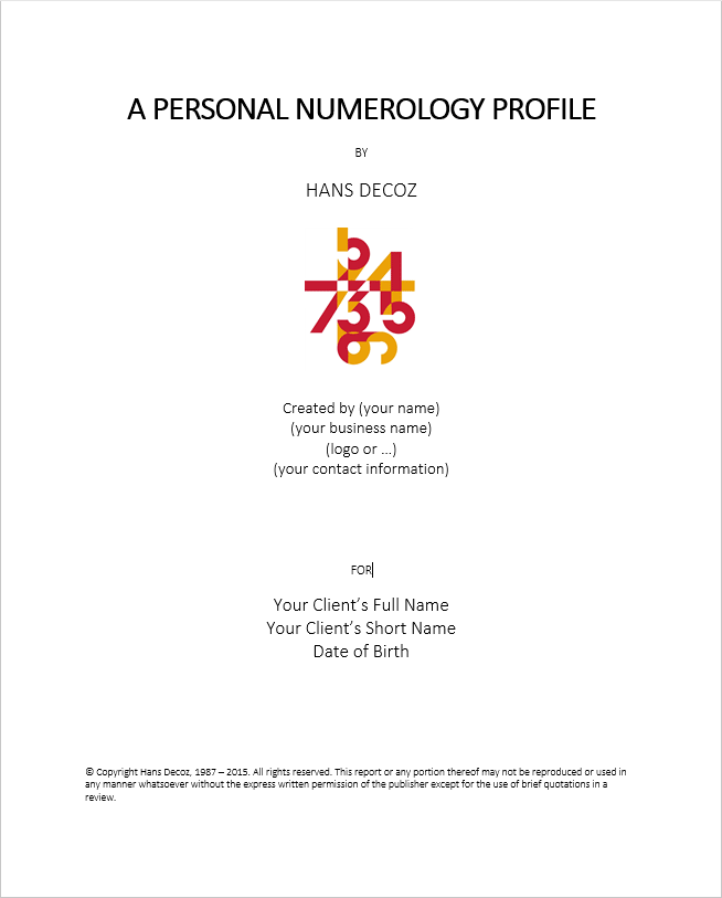 Example of a title page for a numerology reading