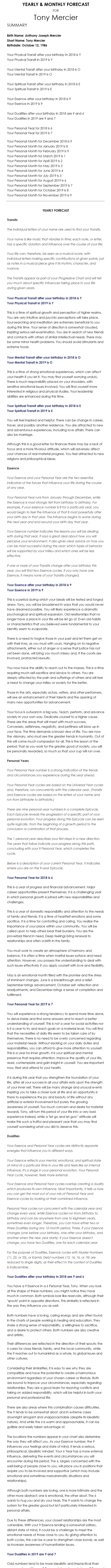 Your Yearly and Monthly Numerology Forecast is included in the Primary subscription of the World Numerology app
